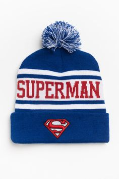 Superman hat from Ardenes Lingerie, Stocking Stuffers, Superman, Winter Hats, Beanie, Stockings, Cute, Stuff To Buy, Shopping