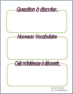 French Immersion - Current Events presentations - graphic organizer (to encourage speaking not reading a presentation) Ap French, Core French, Learn French, French Stuff, Education And Literacy, French Education, Language Activities, Teaching Activities, Teaching Ideas