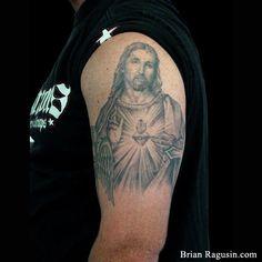 #Jesus sacred heart #tattoo Arm Tattoos, Tatoos, Religious Tattoos, Cool Tats, Sacred Heart, Tatting, Horseshoes, Ink, Trailers