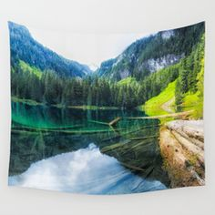 Greenlake Mt. Rainier National Park Wall Tapestry