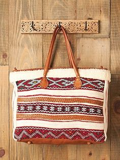 En Shallah Women Shearling Tapestry Tote from Free People Leather and Wool | eBay
