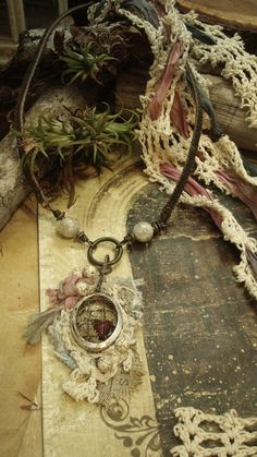 Tattered Rose  Mixed Media Neck Piece by AlteredAlchemy on Etsy, $59.00