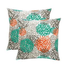 """2   Pillow Cover Cushion 24"""" gray,aqua, and coral blossoms on Etsy, $49.00"""