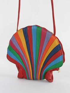 Rainbow Shell Leather Bag: Fantastic shell shaped vintage bag made from a rainbow of leathers. Wow.