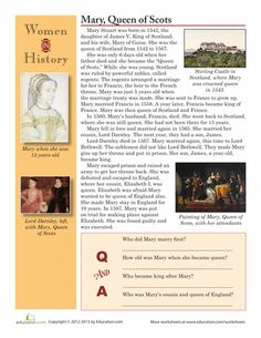 Worksheets: Women in History: Mary, Queen of Scots