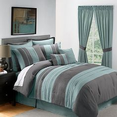 king bedding sets green grey | Sale 8PC King Size Blue Gray Pintucked Comforter Set | eBay