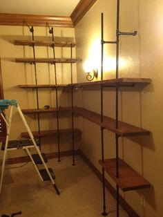 Large Pipe Shelving Project - Steps w/ Distressed Wood - Imgur