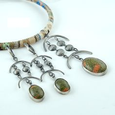 ethno set - earrings & pendant, silver and unakit cabochones
