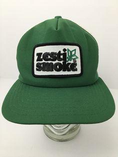 Vintage New Era Trucker Hat Zesti Smoke Patch SnapBack USA Green White Old  Hat  NewEra  TruckerHat 2389a6ae690a