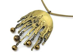 Vintage Modernist Necklace - Sarpaneva Scandinavian 1960s Bronze $180.00