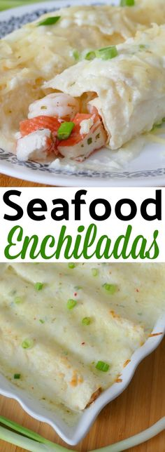 These unique and delicious shrimp and crab enchiladas with a creamy sauce are perfect for dinner any night of the week! Pepper jack cheese, jalapeno and garlic add so much flavor to this Mexican comfort food meal! Fish Recipes, Seafood Recipes, Mexican Food Recipes, Dinner Recipes, Cooking Recipes, Seafood Burrito Recipe, Mexican Desserts, Seafood Appetizers, Freezer Recipes