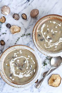 Soupe crémeuse aux champignons et pomme de terre