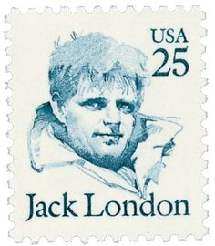 Jack London, 1876-1916, (U.S.) novelist, journalist. Call of the Wild, The Sea-Wolf, White Fang. Commemorated with the 25c Jack London, Great Americans Series stamp issued January 11,1988 in Glen Ellen, California. Catalog # 2182.