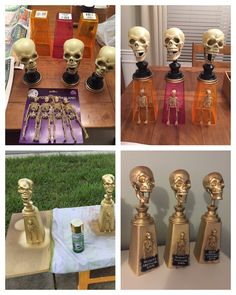 Halloween costume contest trophies made from dollar store items.