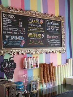 get ice cream Bakery Decor, Decoration Patisserie, Bakery Design, Bakery Menu, Diner Decor, Menue Design, Ice Cream Business, Gelato Shop, Ice Cream Parlor