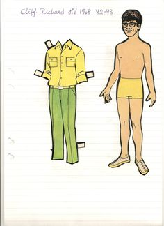 Cliff Richard paper doll, 1968