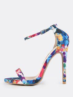 MakeMeChic - MAKEMECHIC Watercolor Print Ankle Strap Heels BLUE MULTI - AdoreWe.com