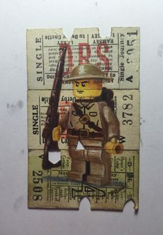 """1914"" oil on vintage tickets"