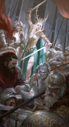queen by KilartDev, medieval concept art, digital painting of a fight, woman holding two swords, armor, illustration, inspirational art