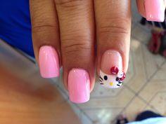 Hello Kitty nail art by Vi Nguyen Hello Kitty Nails, Happy Nails, Cat Nails, Nail Art, Beauty, Nail Arts, Beauty Illustration, Nail Art Designs