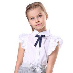 White Blouses For Girls Christmas Costumes Short Sleeve Kids Girl Shirts Girls Formal Dresses, Lace Party Dresses, Dresses Kids Girl, Girl Shirts, Shirts For Girls, Girls White Blouse, Christening Gowns Girls, White Blouses, Baby Girl Princess