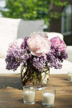 Purple Wedding Flowers Purple and Pink Wedding Flowers Elegant At Home Maryland Wedding Reception: Will Kevin - Lilac Wedding Flowers, Wedding Flower Arrangements, Purple Wedding, Wedding Centerpieces, Pink Flowers, Fall Wedding, Wedding Bouquets, Floral Arrangements, Wedding Reception