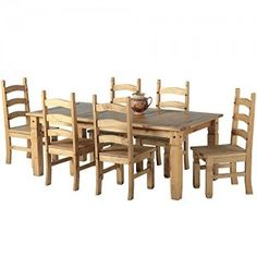 Mexican-Corona-6ft-Pine-70-Dining-Table-Set-6-Chairs-antique-waxed-0