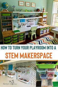 How to Create A Playroom that Fosters Creative Play and Invention Create a makerspace in your playroom that will spark you child's creative play, keep them engaged for hours, and also keep all of those Legos organized!