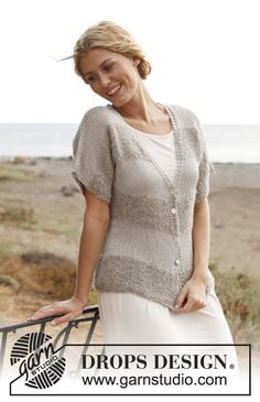 "Seaside Horizons - Knitted DROPS jacket in ""Alpaca Bouclé"" and ""Cotton Viscose"". Size: S - XXXL. - Free pattern by DROPS Design"