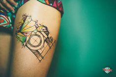 #geometrical #camera by fivecatstattoo
