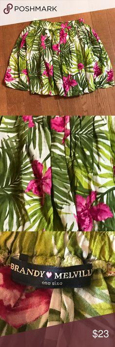 "Brandy Melville Floral Flowy Skirt Brandy Melville Floral Flowy Skirt. One size fits all. Approximately 16"" long with an elastic waist. Cotton/viscose Brandy Melville Skirts Circle & Skater"
