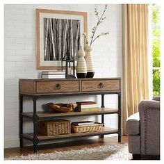 Home Marketplace Crosley Furniture Trenton Console Table - Coffee Table Shelves, Wood Shelves, Industrial Console Tables, Closet Storage, Entertainment Center, Bedding Shop, Living Room Furniture, Entryway Tables, Living Spaces
