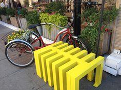 Happy Yellow Bike Rack, in front of Marketplace.  Невский проспект, Санкт-Петербург