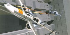 ANH: George Lucas wanted to show the scale of the Death Star trench in relation to the fighters as an aid to the special effects people doing the miniatures.  Many of the ships and spacecraft in Star Wars including the X-Wing Fighter shown here were designed by Joe Johnston, who was initially hired as a storyboard artist in August 1975.