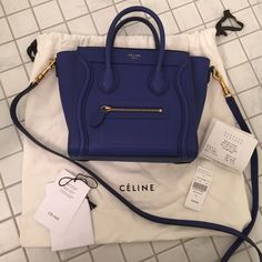 Céline Nano in Indigo Bought a few months ago. Lightly used. reallly good condition!  Comes with Barneys receipt, tags, and dust bag.  Leather is drummed calf. NO TRADES. Celine Bags