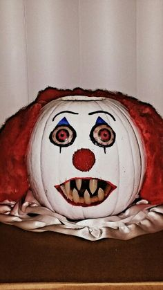 scary clown pumpkin painted halloween pumpkin