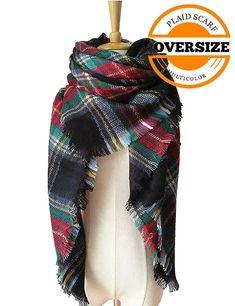 1cad261fcb7c6 Lncropo Women s Plaid Scarf Winter Oversized Scarves Tartan Shawl Wrap  Blanket Scarf Warm Tassels Pashmina Poncho