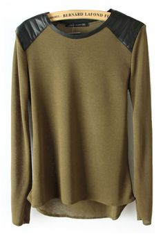 LOVE this Army Green Patchwork Round Neck Pullover with Black Leather Shoulders  Awesome Color and Style!