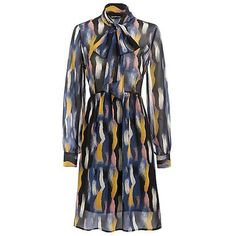 Tie Neck Print Smock Dress (195 BRL) ❤ liked on Polyvore featuring dresses, smocked dresses, necktie dress, neck tie dress, tie neck dress and tie neck tie