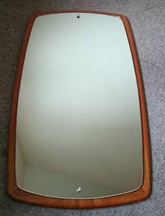 Vintage Large 1960s 1970s Danish Teak Wood Wall Mirror Mid Century Rectangular