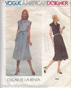 Oscar de la Renta Dress Loose Fit Pullover VOGUE Sew Pattern 1916 Sz 10 Uncut