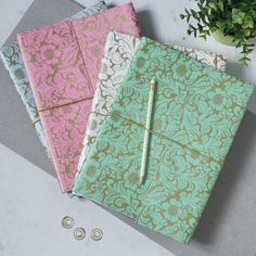 Our beautiful and practical notebooks are made from recycled materials. Finished with a textured look (a bit like leather) they are eco and animal friendly. All of our beautiful rich prints and patterns are hand-screen printed using eco-friendly dyes. A4 Notebook, Notebook Covers, Beautiful Notebooks, Beautiful Notes, Stationery Items, Paper Cover, Recycled Materials, Print Patterns, Screen Printing