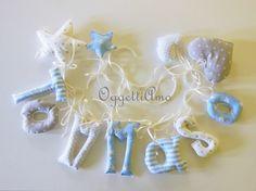 Tommaso: ghirlanda di lettere di stoffa imbottite per decorare la cameretta : Decorazioni per camerette bambini di oggettiamo