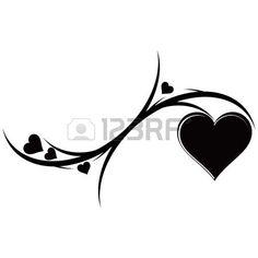 De decoratieve ornament met hartjes. Tattoo. Vector illustratie. Stockfoto - 13984981