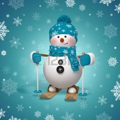 the snowman: 3d skiing snowman Christmas greeting card Stock Photo