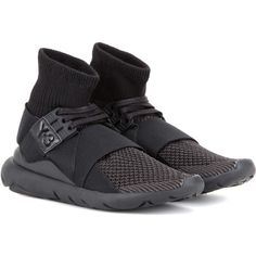 Y-3 Qasa Elle Lace Sneakers (645 BAM) ❤ liked on Polyvore featuring shoes, sneakers, black, lace sneakers, y3 shoes, lace shoes, kohl shoes and y3 sneakers