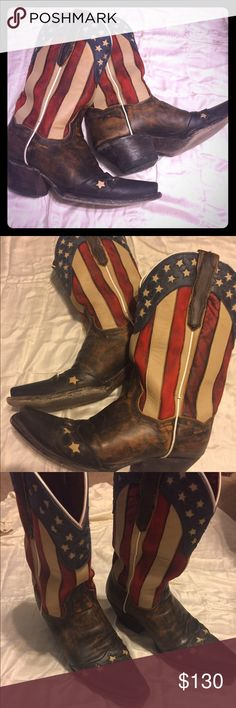 Dan Post Liberty boots These boots are the perfect addition to any summer outfit! You definitely need these for your 4th of July festivities!! Selling because I had two pairs. Dan Post Shoes Heeled Boots