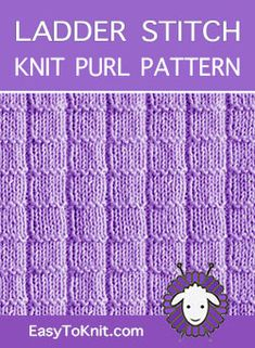 Knit Purl Stitch Pattern. Free written instructions + Chart Knit Stitches For Beginners, Loom Knitting Stitches, Beginner Knitting Patterns, Knitting Basics, Knitting Charts, Easy Knitting, Knitting Projects, Knitting Ideas, Knitting Tutorials