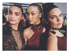 Taylor Hill, Gigi Hadid, and Kendall Jenner at the Balmain show in Paris. #goals