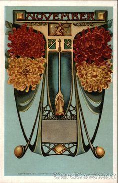 November horoscope - Sagittarius. Victorian Art Nouveau vintage post card